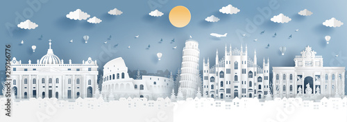 Photo Panorama of top world famous landmark of Italy for travel poster and postcard, in paper cut style vector illustration