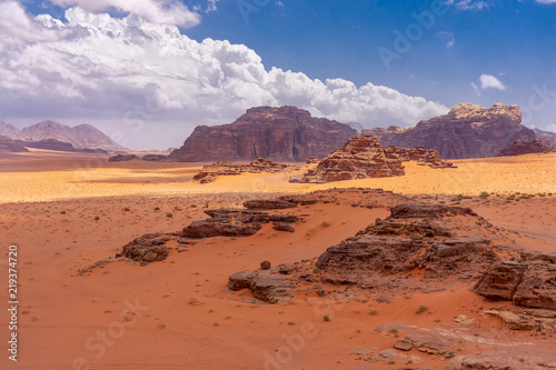 Dunes of red sand in Wadi Ruma desert, Jordan