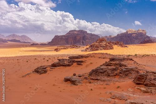 Dunes of red sand in Wadi Ruma desert, Jordan