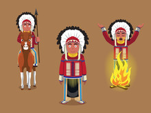 Native American Cheif Poses Cartoon Vector Illustration