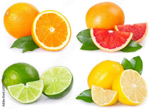 Fresh orange, grapefruit, lemon and lime on white background