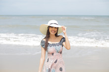 Beautiful Girl Smiling Happily On A Sunny Day, Hua Hin, Thailand .