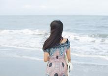 Beautiful Girl At The Beach On A Sunny Day Hua Hin, Thailand