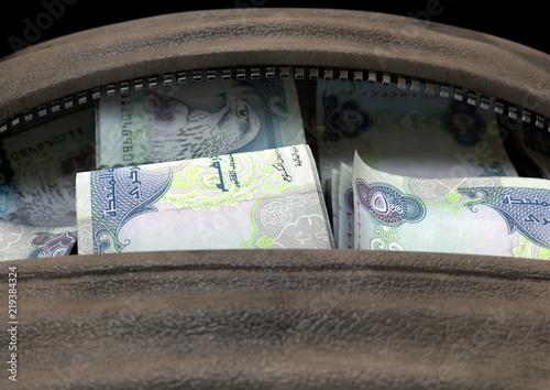 Photo  Illicit Cash In A Brown Duffel Bag