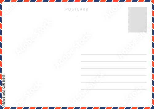 Classic blank white postcard template with airmail border pattern Wallpaper Mural