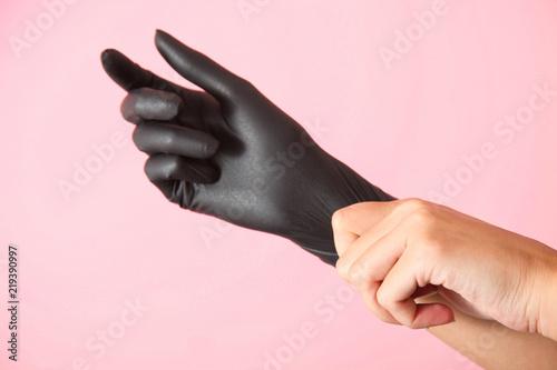 Fényképezés  rubber black glove