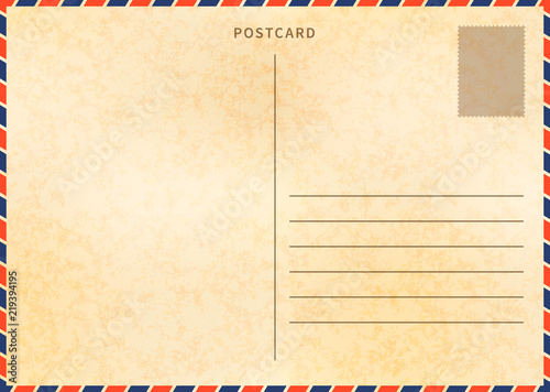 Retro Blank Postcard Template With Airmail Border And Old Paper Texture