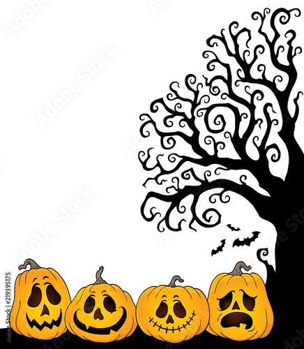 Halloween tree half silhouette theme 2