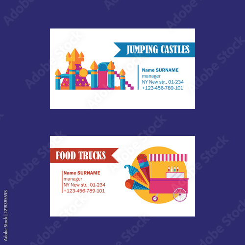 Amusement park business cards on white background  Vector