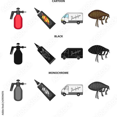 Flea, special car and equipment cartoon,black,monochrome