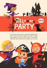 Flyer Or Poster Template With Cute Happy Little Boys And Girls Dressed In Halloween Costumes And Place For Text. Colorful Holiday Vector Illustration In Flat Cartoon Style For Party Announcement.