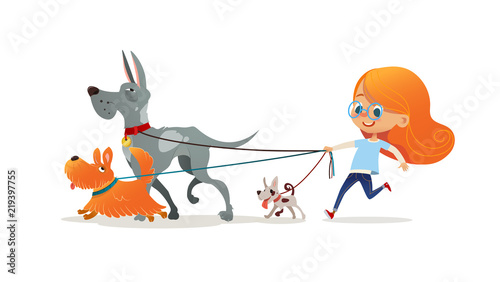 Little Redhead Girl Walking Three Dog On Leash Cute Child Running With Doggies Adorable Kid With Red Hair And Her Pets Isolated On White Background Flat Cartoon Colorful Vector Illustration Buy