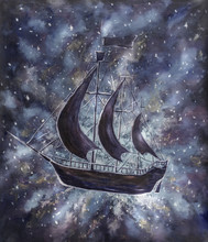Old Pirate Ships In Starry Fog Cosmos, Peter Pan Dark And White Oil Painting