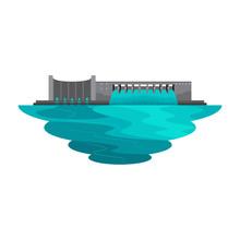 Dam Reservoir Water Lake For Power Energy Landscape Vector