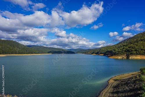 Spoed Foto op Canvas Zee zonsondergang Water reservoir in Australia
