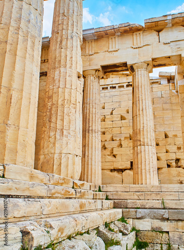 Doric columns and Entabulature of the western facade of Propylaea, the ancient gateway to the Athenian Acropolis Canvas Print
