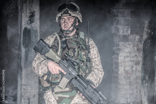 Valokuva Special forces soldier, Marine Corps infantryman, commando fighter in helmet and