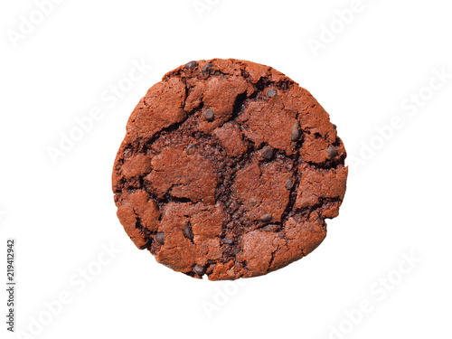 In de dag Koekjes Chocolate cookie with chocolate isolated on white background. Sweet biscuits. Fresh baked chocolate chip cookie with crumbs