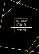 Beautiful, Elegant, Simplistic Template With Golden Lines On Black Background Vector