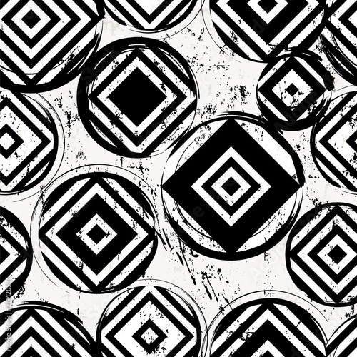seamless background pattern, with circles, squares, strokes and splashes, black and white