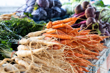 Bunches Of Parsnips And Carrot...