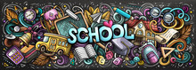 Cartoon Cute Doodles School Wo...