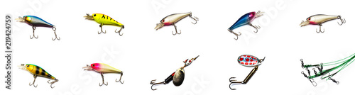 Collection of fishing lures on white background