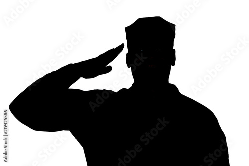 Shoulder silhouette of saluting army soldier in utility cover or cap isolated on white background Billede på lærred