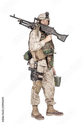 Studio shoot of army, marine machine gunner in camouflage combat uniform and bod Canvas Print