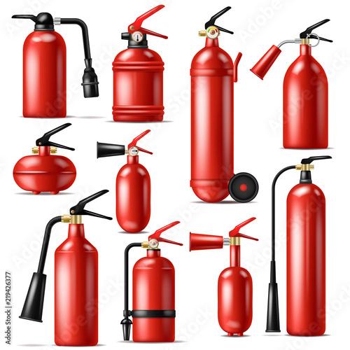 Canvas Print Fire extinguisher vector protection to extinguish flame with fire-extinguisher i