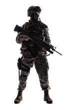 Full Length, Low Key Studio Shoot Of Fully Equipped Army Soldier In Camo Uniform And Helmet, Armed With Pistol And Assault Service Rifle With Underbarrel Grenade Launcher Isolated On White Background