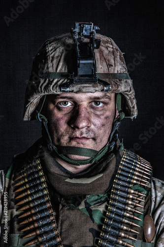 Shoulder portrait of experienced army soldier, military conflict veteran, skille Canvas Print