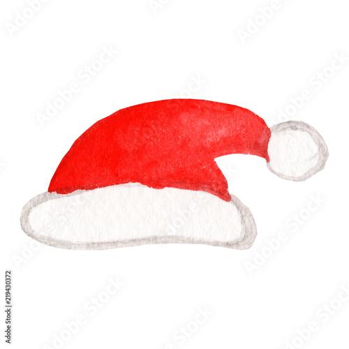 b9b169129b3d9 Santa Claus red hat. Watercolor illustration