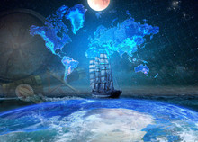 Sailing Four-masted Ship On The Background Of The Geographical Map Of The Earth