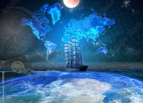 Keuken foto achterwand Schip Sailing four-masted ship on the background of the geographical map of the earth