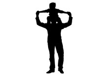 Child (son) Sitting On Shoulders Of Man (father) Silhouette, Vector