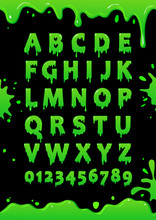 Font Of Green Slime. Blot Alph...