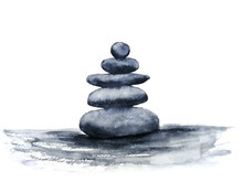 Watercolor Spa Zen Stones. Hand Drawn Illustration Isolated On White Background.Traditional Oriental. Asia Art Style