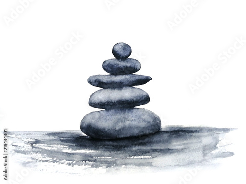 watercolor spa zen stones Wallpaper Mural