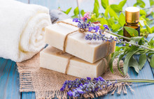 Handmade Soap Bars. Homemade Soap With Lavender Flowers