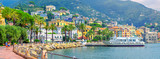 Panorama of the embankment on the Amalfitan coast of Italy, Campania, Italy