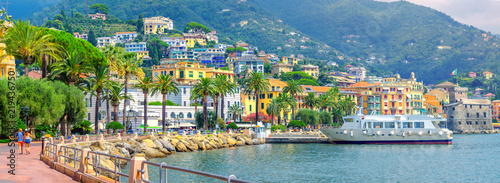Panorama of the embankment on the Amalfitan coast of Italy, Campania, Italy