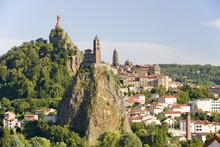 Le Puy En Velay And Chapelle Saint Michel D'Aiguilhe, Auvergne, France.