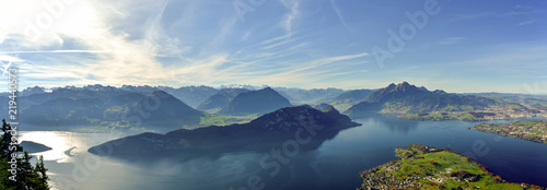 Fotografie, Obraz Panoramic view on Lake Lucerne, Mount Pilatus and Swiss Alps