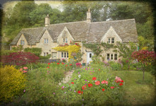 Textured Photograph Of A Country Garden Cottage In The Cotswolds In England