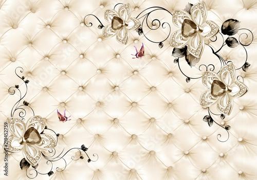 Fototapeta 3D Light golden jewelry background wallpaper 3D wallpaper