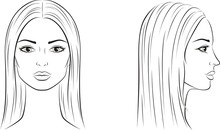 Female Face With Long Hair. Front And Side
