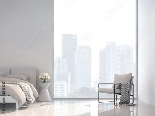 Minimal white bedroom with city view 3d render, Decorate with white fabric furniture ,The room has large windows,Sunlight shines into the room Wallpaper Mural