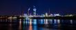 canvas print picture - Industrieanlage bei Nacht Panorama