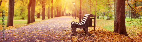 Bench in autumn with lots of sunshine in the corner Wallpaper Mural